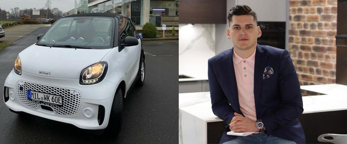 Philipp Kühne und Smart E-Auto