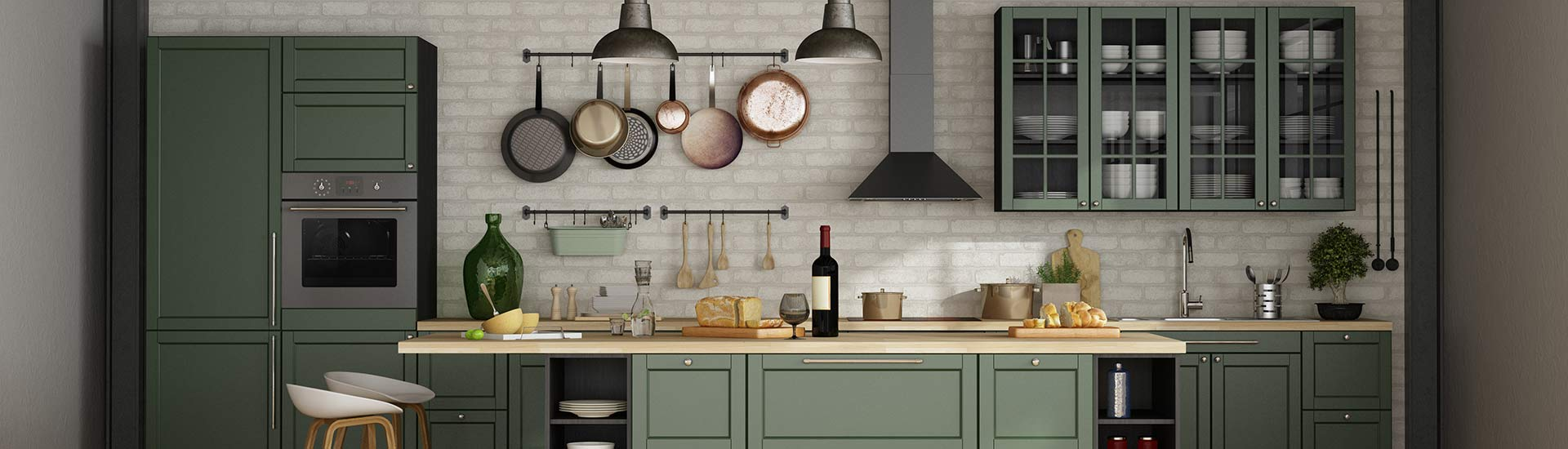Moderne offene grüne Küche