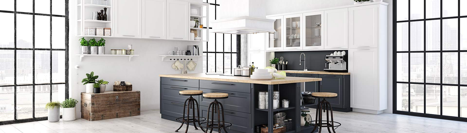 Moderne Küche mit offenem Bereich
