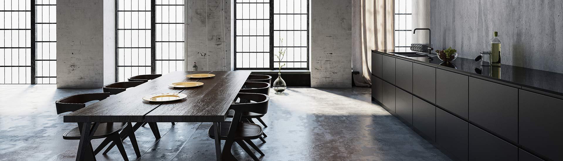 Moderne offene dunkle Küche